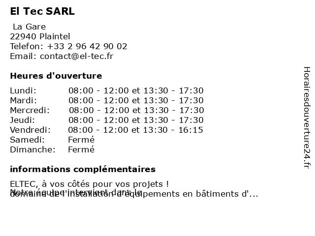 El Tec SARL à Plaintel: adresse et heures d'ouverture