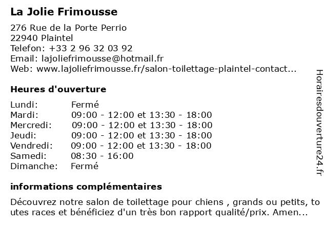 La Jolie Frimousse à Plaintel: adresse et heures d'ouverture