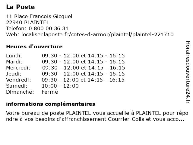 La Poste à Plaintel: adresse et heures d'ouverture