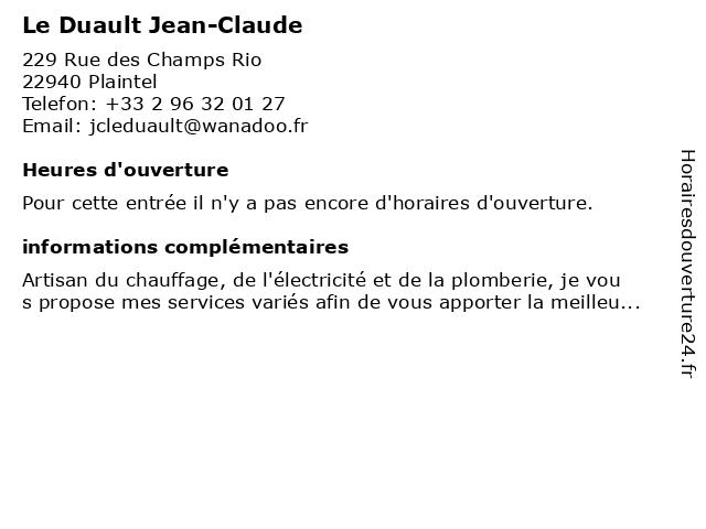 Le Duault Jean-Claude à Plaintel: adresse et heures d'ouverture