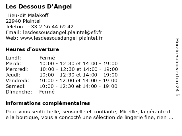 Les Dessous D'Angel à Plaintel: adresse et heures d'ouverture