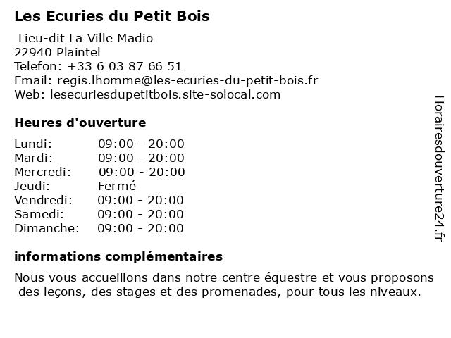 Les Ecuries du Petit Bois à Plaintel: adresse et heures d'ouverture