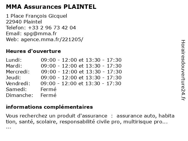 MMA Assurances PLAINTEL à Plaintel: adresse et heures d'ouverture