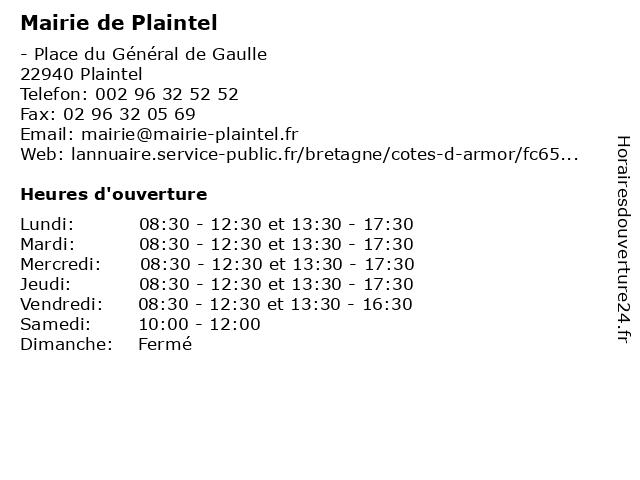 Mairie de Plaintel à Plaintel: adresse et heures d'ouverture