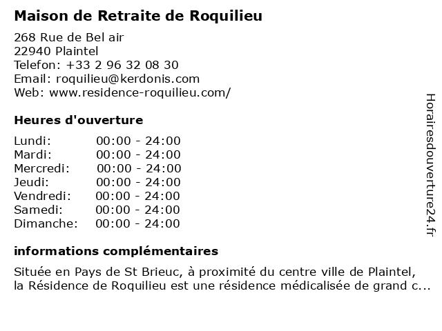 Maison de Retraite de Roquilieu à Plaintel: adresse et heures d'ouverture