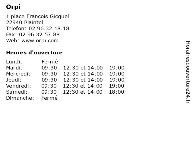 Orpi à Plaintel: adresse et heures d'ouverture