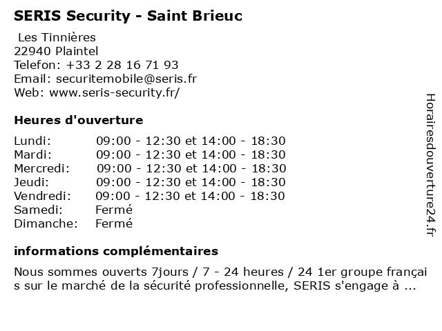 SERIS Security - Saint Brieuc à Plaintel: adresse et heures d'ouverture