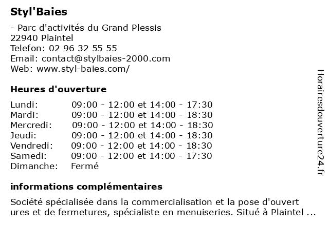 Styl'Baies à Plaintel: adresse et heures d'ouverture
