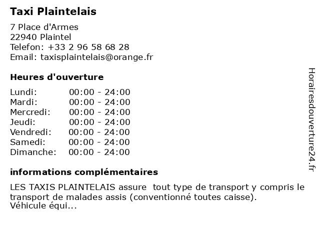 Taxi Plaintelais à Plaintel: adresse et heures d'ouverture