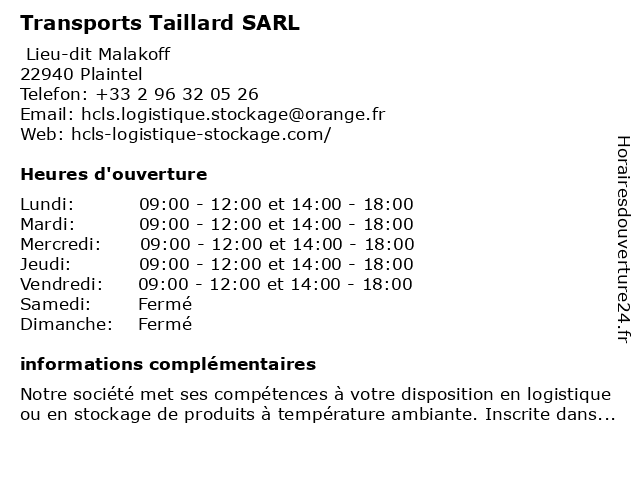 Transports Taillard SARL à Plaintel: adresse et heures d'ouverture