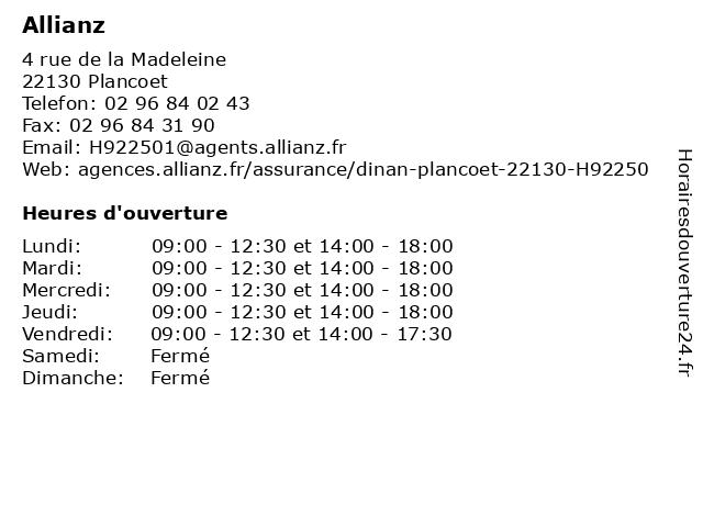 Allianz à Plancoet: adresse et heures d'ouverture