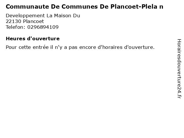Communaute De Communes De Plancoet-Plela n à Plancoet: adresse et heures d'ouverture