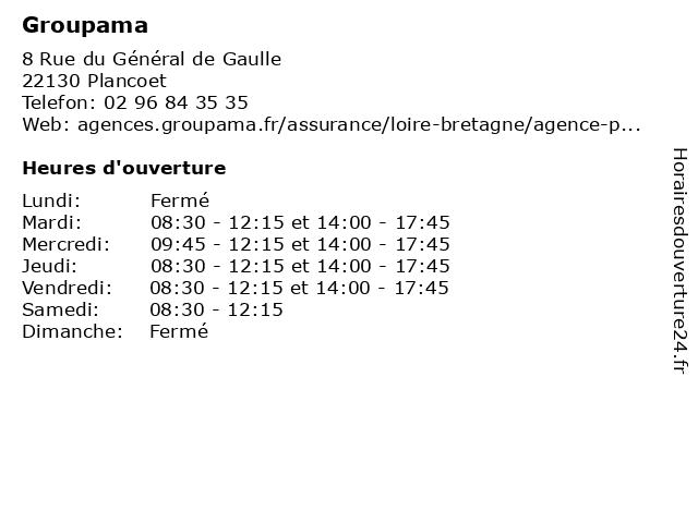 Groupama à Plancoet: adresse et heures d'ouverture