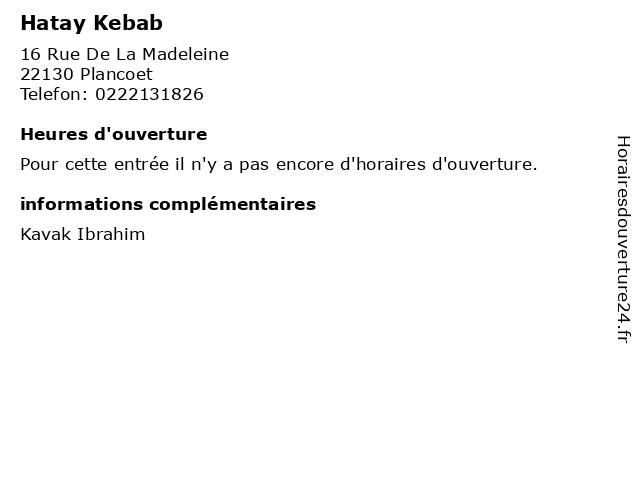 Hatay Kebab à Plancoet: adresse et heures d'ouverture