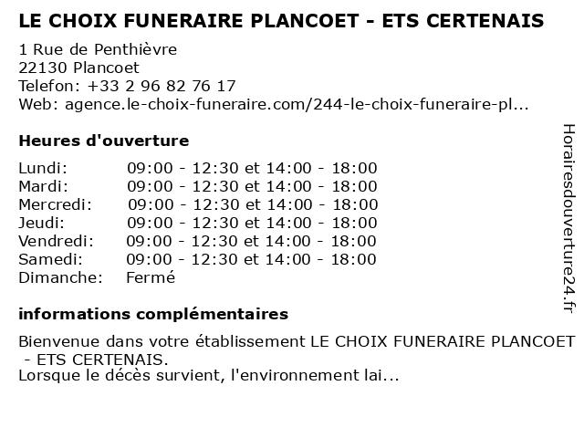 LE CHOIX FUNERAIRE PLANCOET - ETS CERTENAIS à Plancoet: adresse et heures d'ouverture