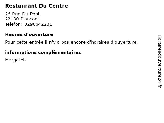 Restaurant Du Centre à Plancoet: adresse et heures d'ouverture