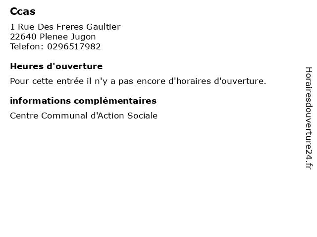 Ccas à Plenee Jugon: adresse et heures d'ouverture