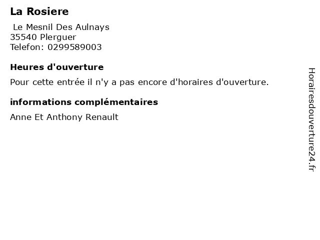 La Rosiere à Plerguer: adresse et heures d'ouverture