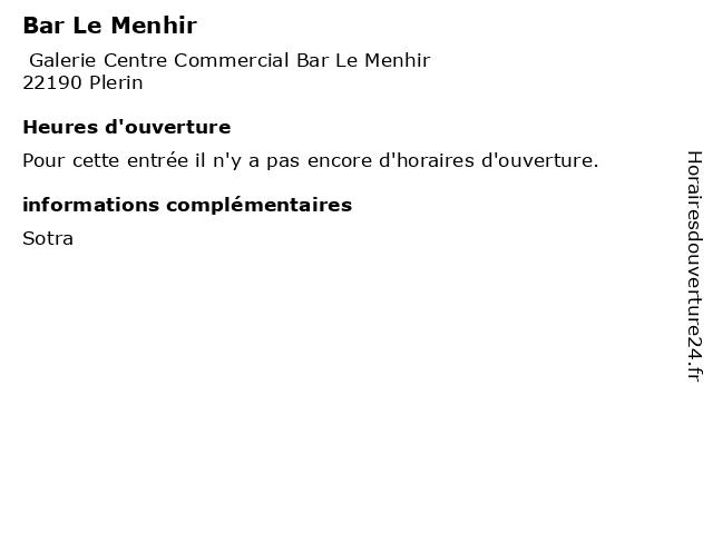 Bar Le Menhir à Plerin: adresse et heures d'ouverture