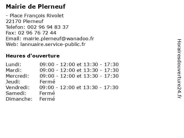 Mairie de Plerneuf à Plerneuf: adresse et heures d'ouverture