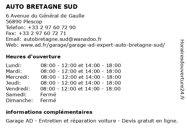 AUTO BRETAGNE SUD à Plescop: adresse et heures d'ouverture