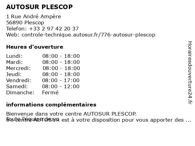 AUTOSUR PLESCOP à Plescop: adresse et heures d'ouverture