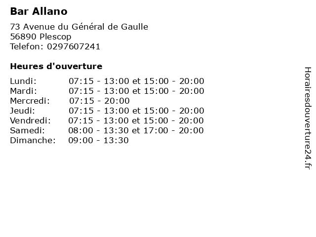 Bar Allano à Plescop: adresse et heures d'ouverture