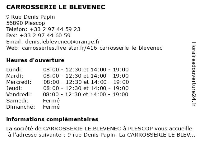 CARROSSERIE LE BLEVENEC à Plescop: adresse et heures d'ouverture