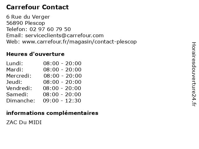Carrefour Contact à Plescop: adresse et heures d'ouverture