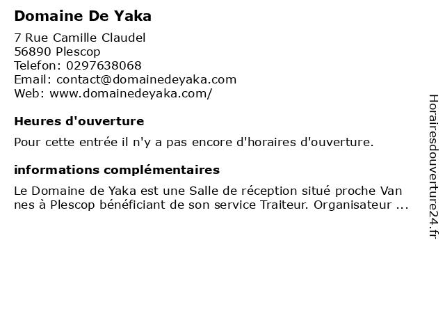 Domaine De Yaka à Plescop: adresse et heures d'ouverture