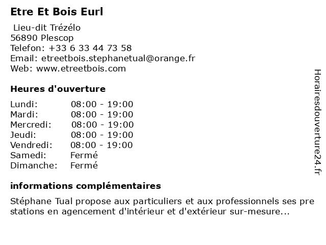 Etre Et Bois Eurl à Plescop: adresse et heures d'ouverture