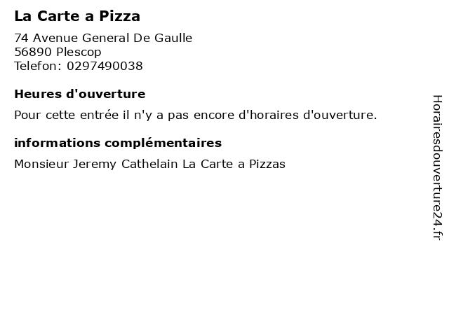 La Carte a Pizza à Plescop: adresse et heures d'ouverture