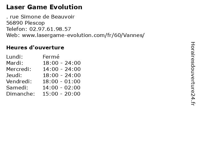 Laser Game Evolution à Plescop: adresse et heures d'ouverture