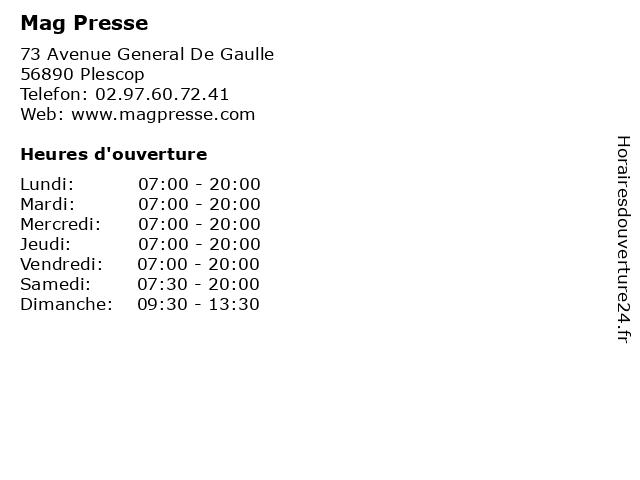 Mag Presse à Plescop: adresse et heures d'ouverture
