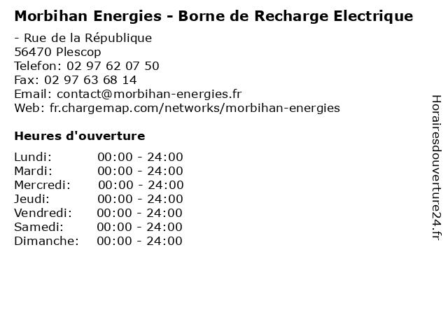 Morbihan Energies - Borne de Recharge Electrique à Plescop: adresse et heures d'ouverture
