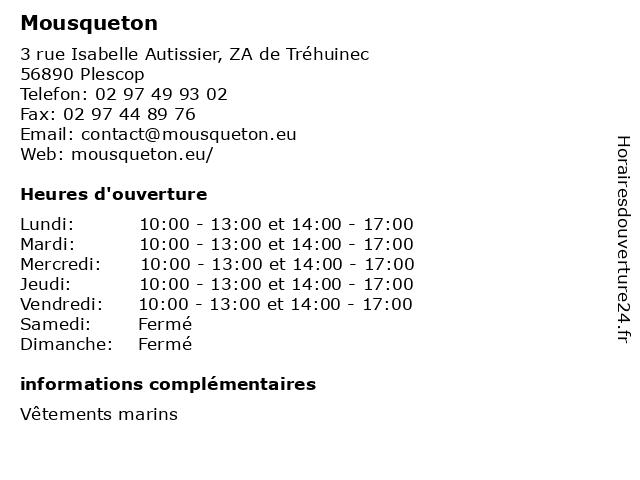 Mousqueton à Plescop: adresse et heures d'ouverture