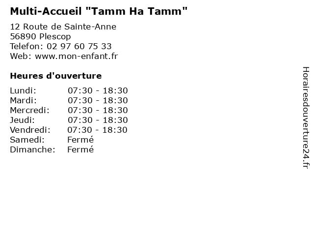 """Multi-Accueil """"Tamm Ha Tamm"""" à Plescop: adresse et heures d'ouverture"""