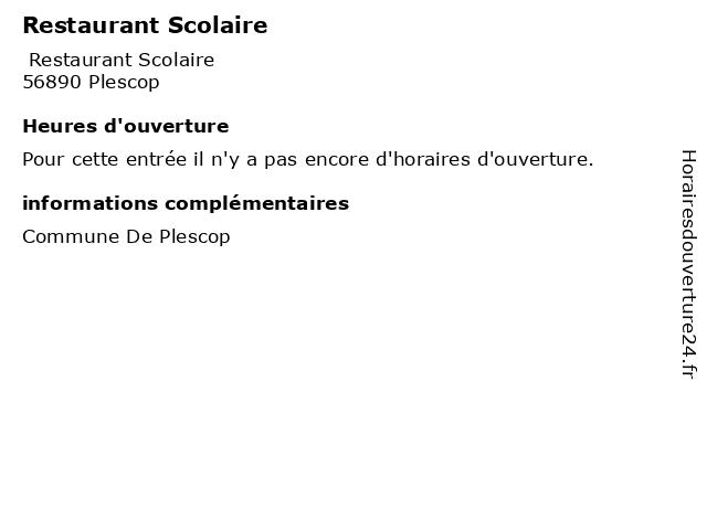 Restaurant Scolaire à Plescop: adresse et heures d'ouverture
