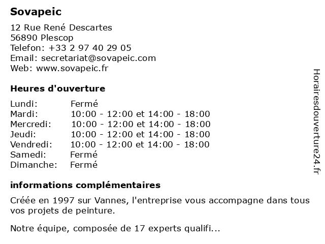 Sovapeic à Plescop: adresse et heures d'ouverture