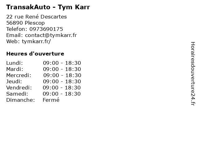 TransakAuto - Tym Karr à Plescop: adresse et heures d'ouverture