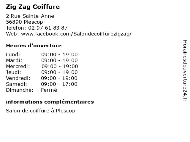 Zig Zag Coiffure à Plescop: adresse et heures d'ouverture