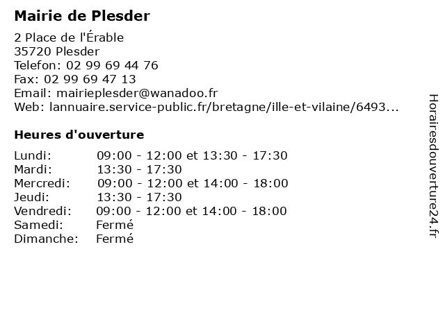 Mairie de Plesder à Plesder: adresse et heures d'ouverture