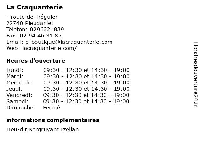 La Craquanterie à Pleudaniel: adresse et heures d'ouverture