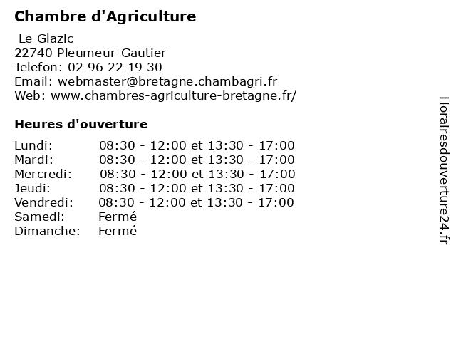 Chambre d'Agriculture à Pleumeur-Gautier: adresse et heures d'ouverture