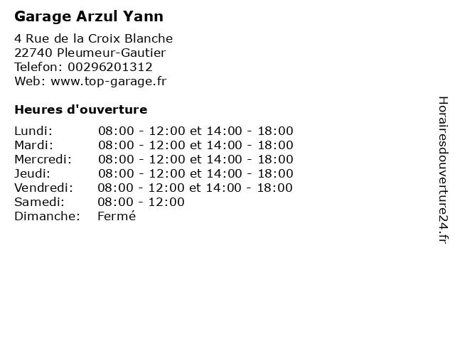 Garage Arzul Yann à Pleumeur-Gautier: adresse et heures d'ouverture