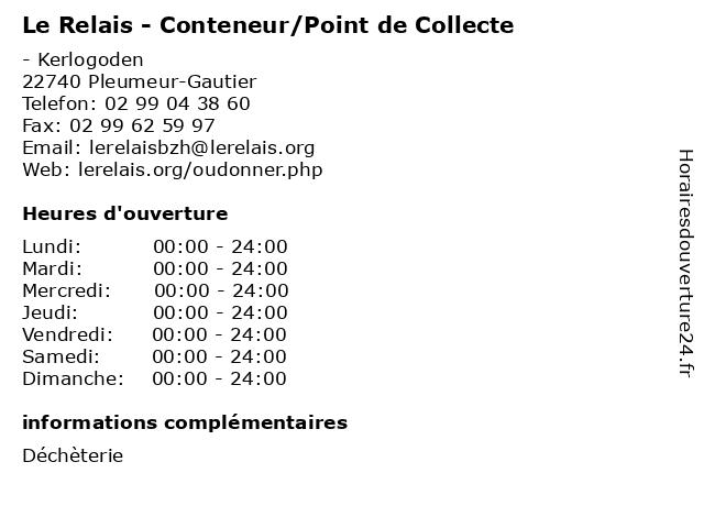 Le Relais - Conteneur/Point de Collecte à Pleumeur-Gautier: adresse et heures d'ouverture