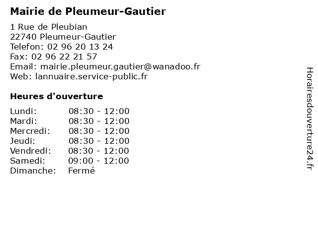 Mairie de Pleumeur-Gautier à Pleumeur-Gautier: adresse et heures d'ouverture