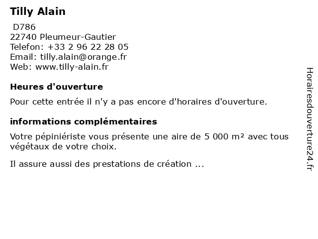 Tilly Alain à Pleumeur-Gautier: adresse et heures d'ouverture