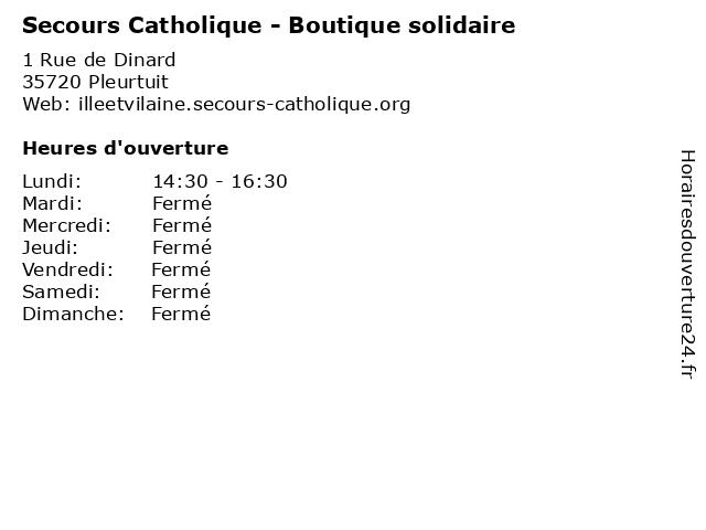Secours Catholique - Boutique solidaire à Pleurtuit: adresse et heures d'ouverture