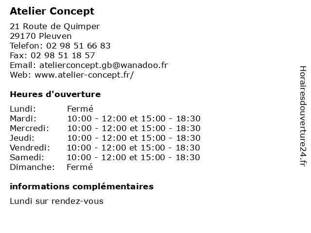 Atelier Concept à Pleuven: adresse et heures d'ouverture